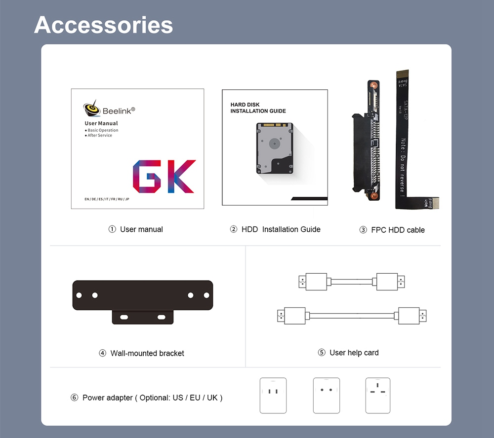 Beelink GK55 Windows10 Mini PC Gemini Lake-R J4125 Quad Core 8GB RAM 256GB SSD 2.4G+5G WIFI HDMI*2 RJ45*2