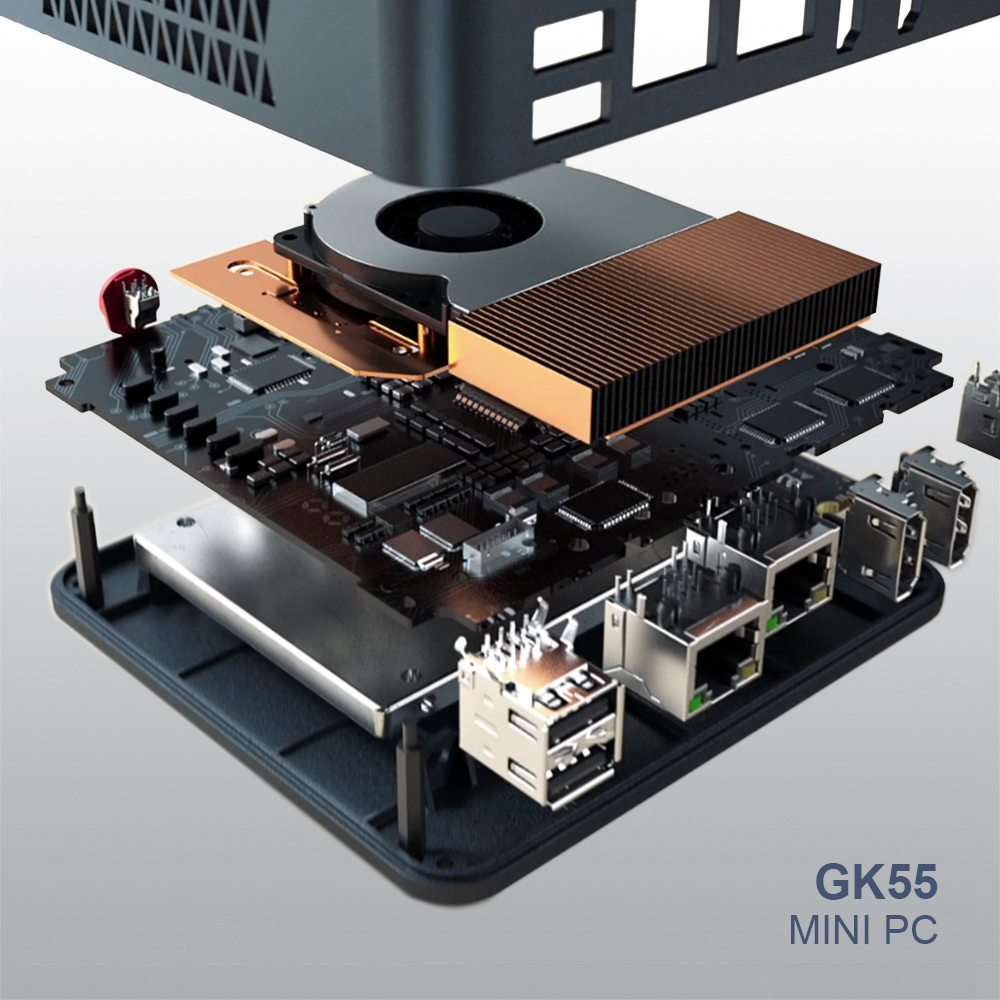 Beelink GK55 Windows10 Mini PC Gemini Lake-R J4125 Quad Core 8 Go de RAM 256 Go SSD 2.4G + 5G WIFI HDMI * 2 RJ45 * 2