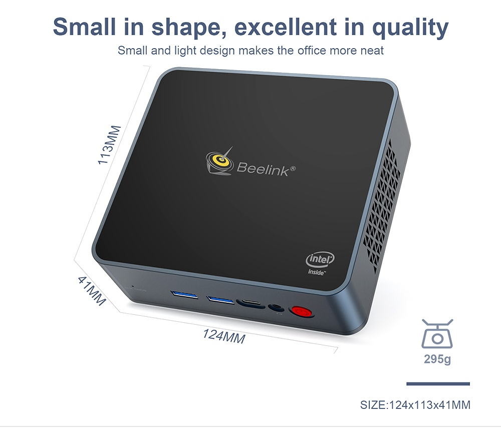 Beelink GK55 Windows10 Mini PC Gemini Lake-R J4125 Quad Core 8GB RAM 256GB SSD 2.4G+5G WIFI HDMI*2 RJ45*2