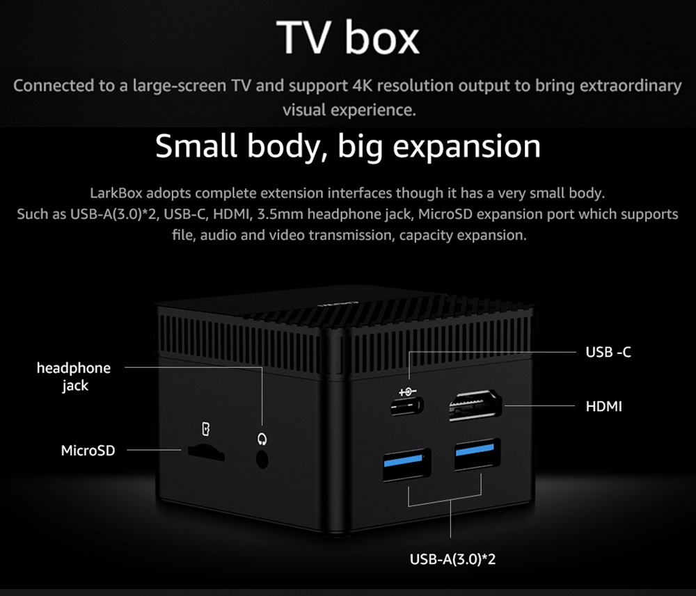CHUWI LarkBox Windows 10 4K Mini PC Intel J4115 Intel HD Graphics 600 6GB/128GB 2.4G/5G WiFi Gigabit LAN HDMI 2.0 BT5.0