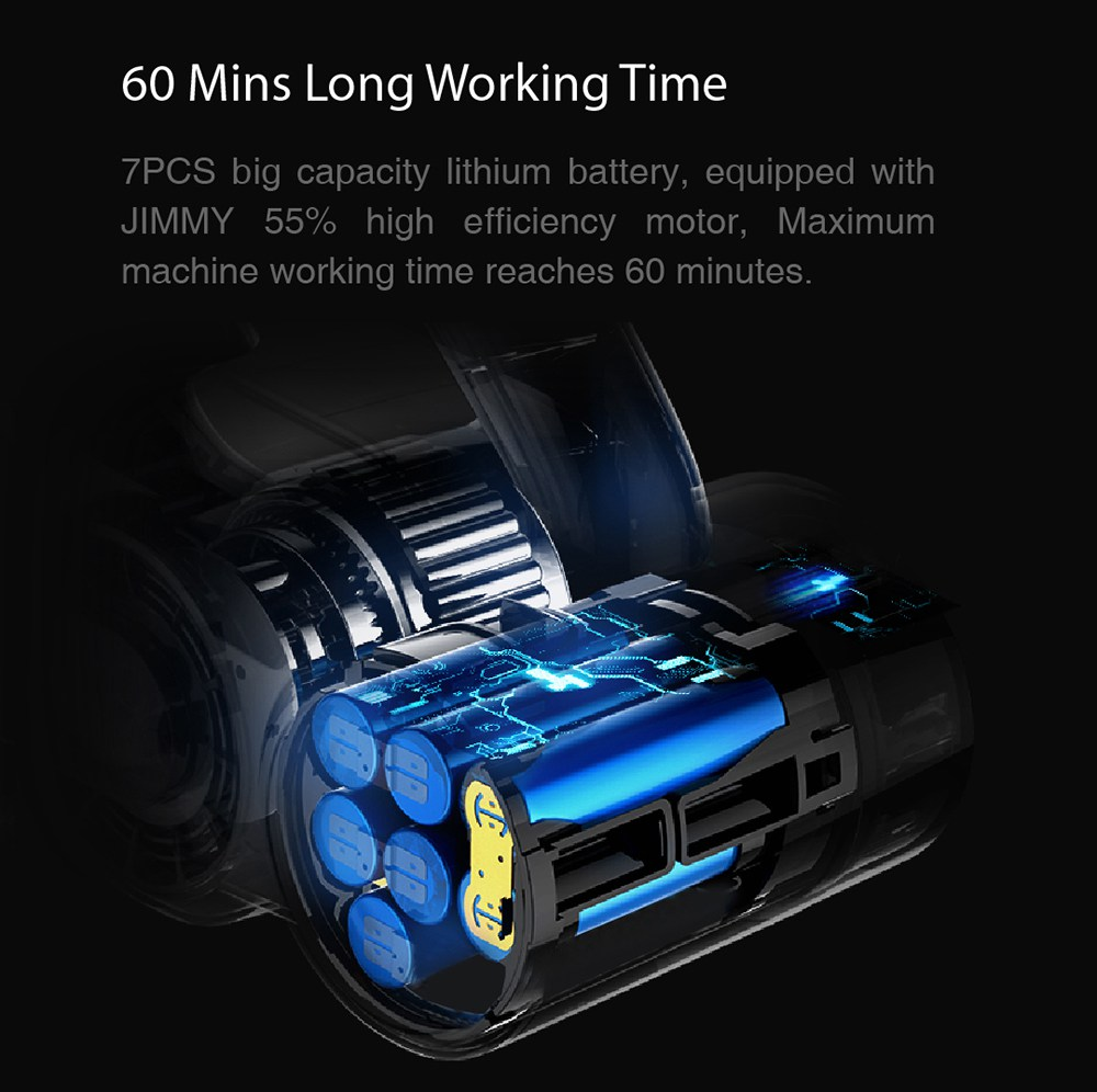 JIMMY JV85 Smart Cordless Handheld Vacuum Cleaner 23000Pa Suction 500W Brushless Motor 60 Minutes Running Time LED Display Global Version - Blue