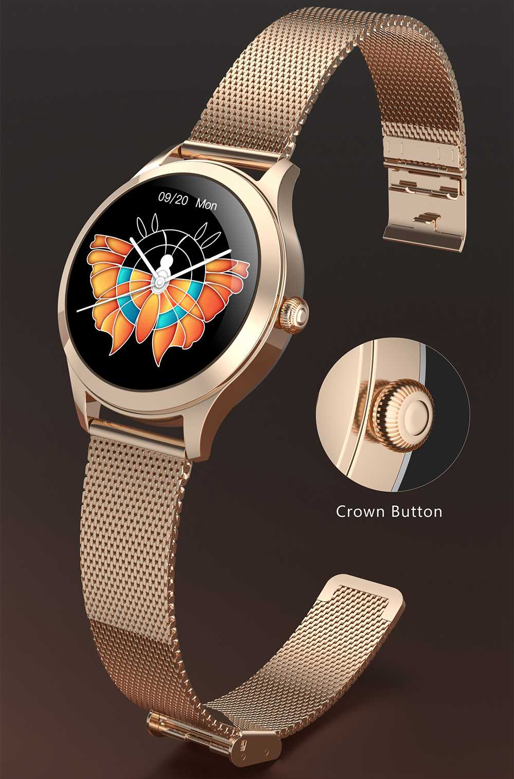 KW10 PRO Women Smartwatch 1.09 Inch Round TFT Screen IP68 Water Resistant Heart Rate Sleep Tracker APP Bluetooth Multi-language - Gold