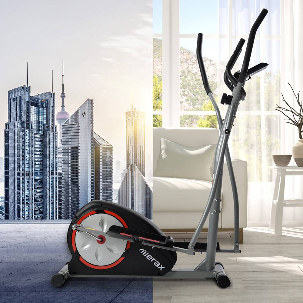 Merax Cross Portable Trainer Elliptical with LCD Display Equipment Stand For Home Exercises 8 Levels - Silver