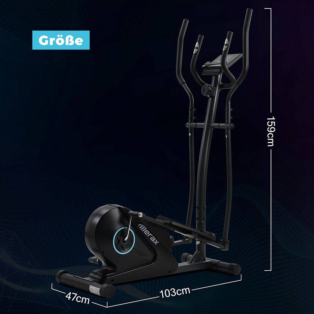 Merax Cross Portable Trainer Elliptical with LCD Display Equipment Stand For Home Exercises 8 Levels - Black