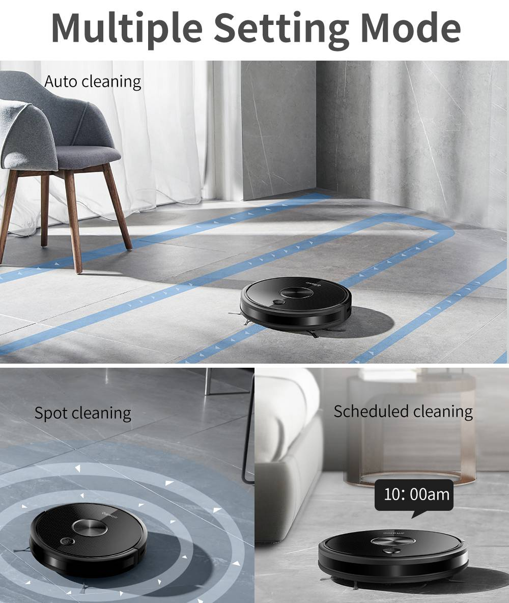 Proscenic Ultenic D5 Robot Vacuum Cleaner 2200Pa Max Suction Wi-Fi & Alexa Control Super-Thin Auto Carpet Boost - Black