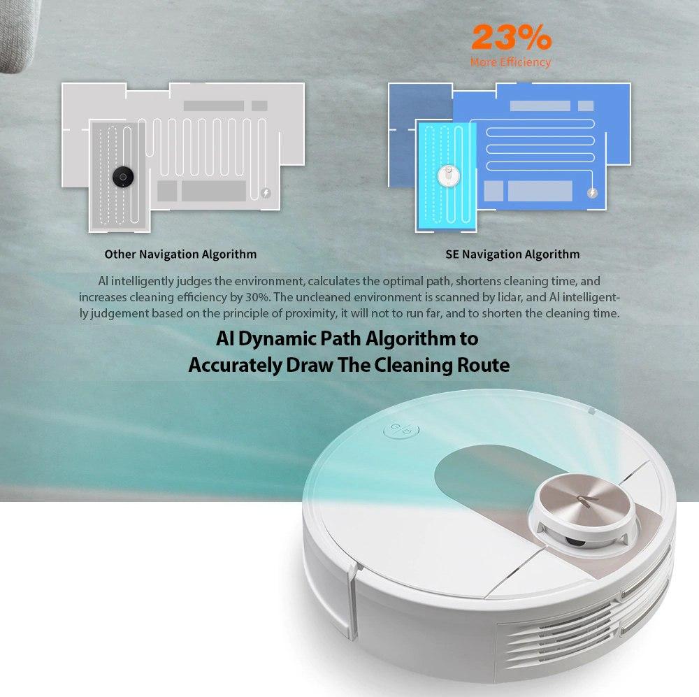 Xiaomi VIOMISEロボット掃除機2200PaLDSインテリジェント電気制御タンク2in1スイープモップ5マップを保存7予定EUプラグ-ホワイト
