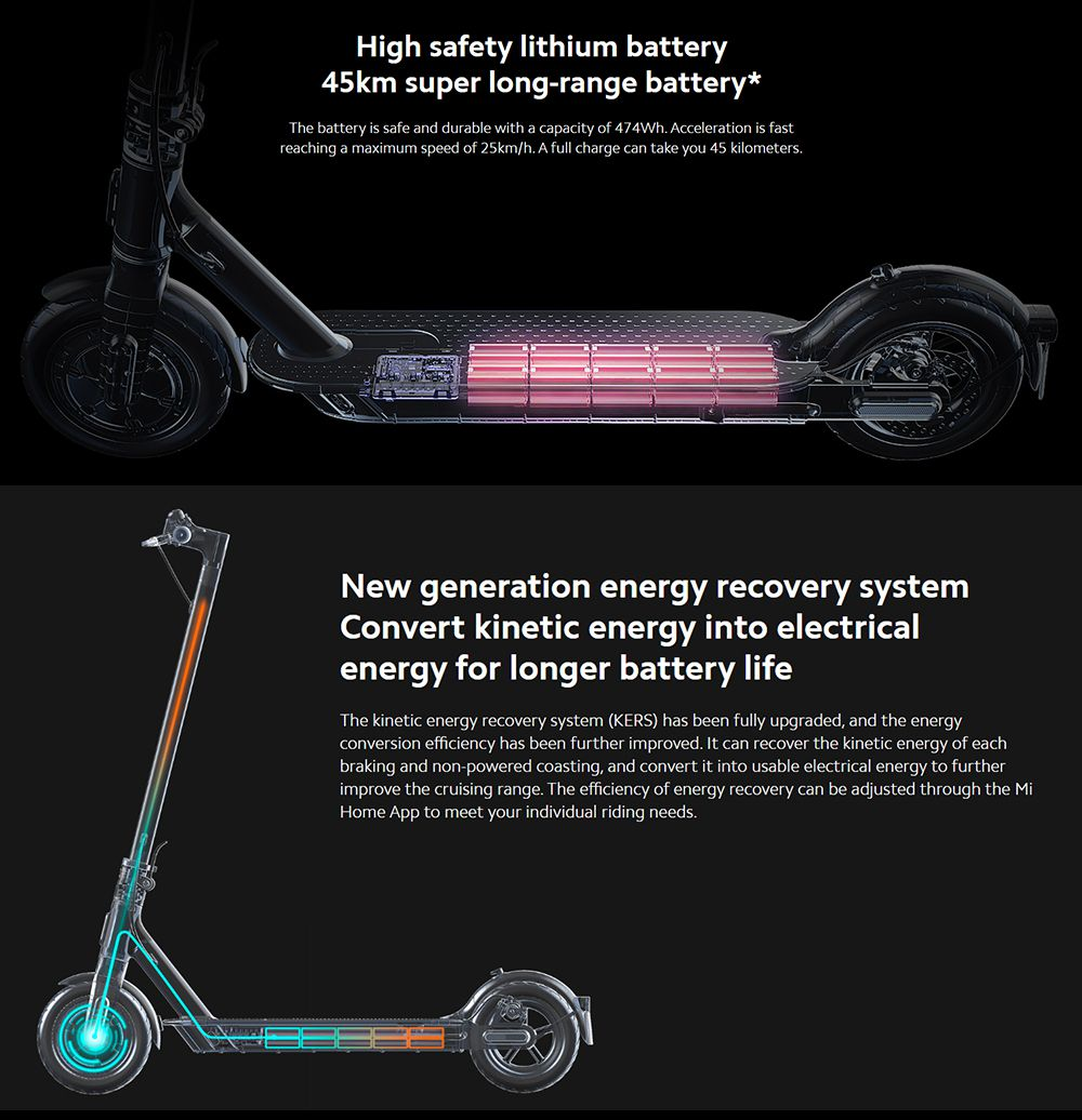 Xiaomi Mi Foldable Electric Scooter Pro 2 Max Speed 25km/h 300W Brushless DC Motor 45km Travel Distance 12800mAh Battery BMS Mijia APP Global Version - Black
