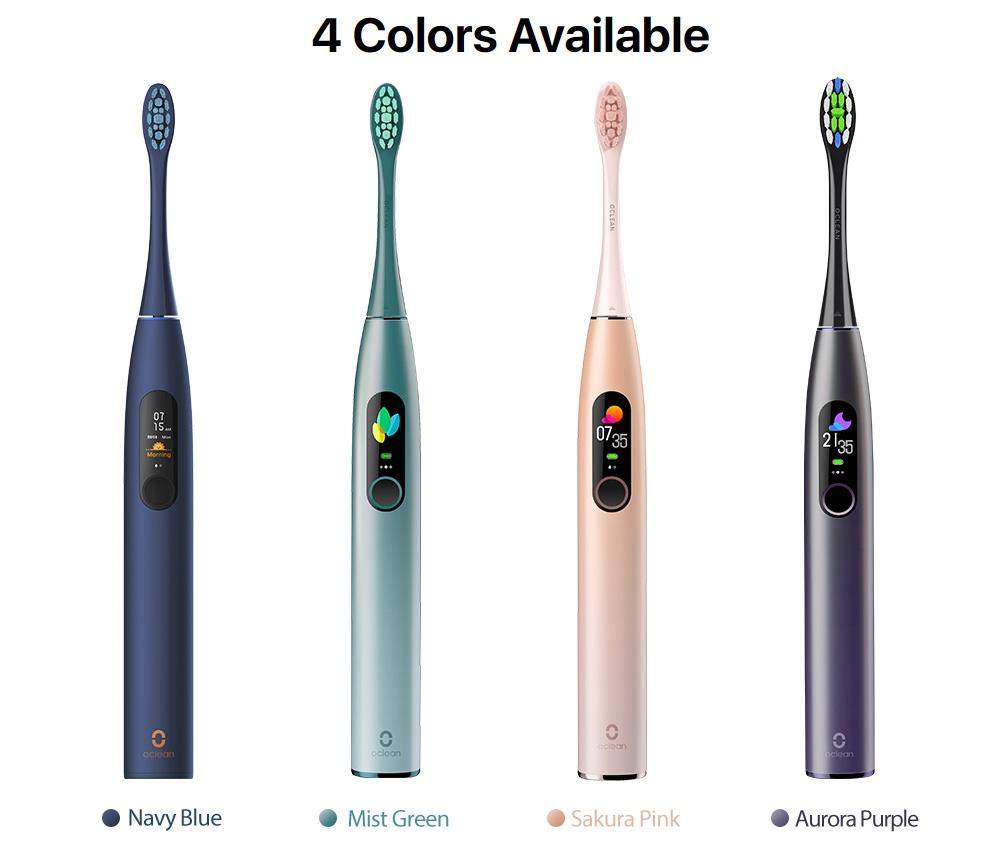Xiaomi Oclean X Pro Global Version Smart Sonic Electric Adult Toothbrush IPX7 Waterproof Adjustable Strength Color Touch Screen USB Charging Holder 800mAh Lithium Battery APP Control - Green