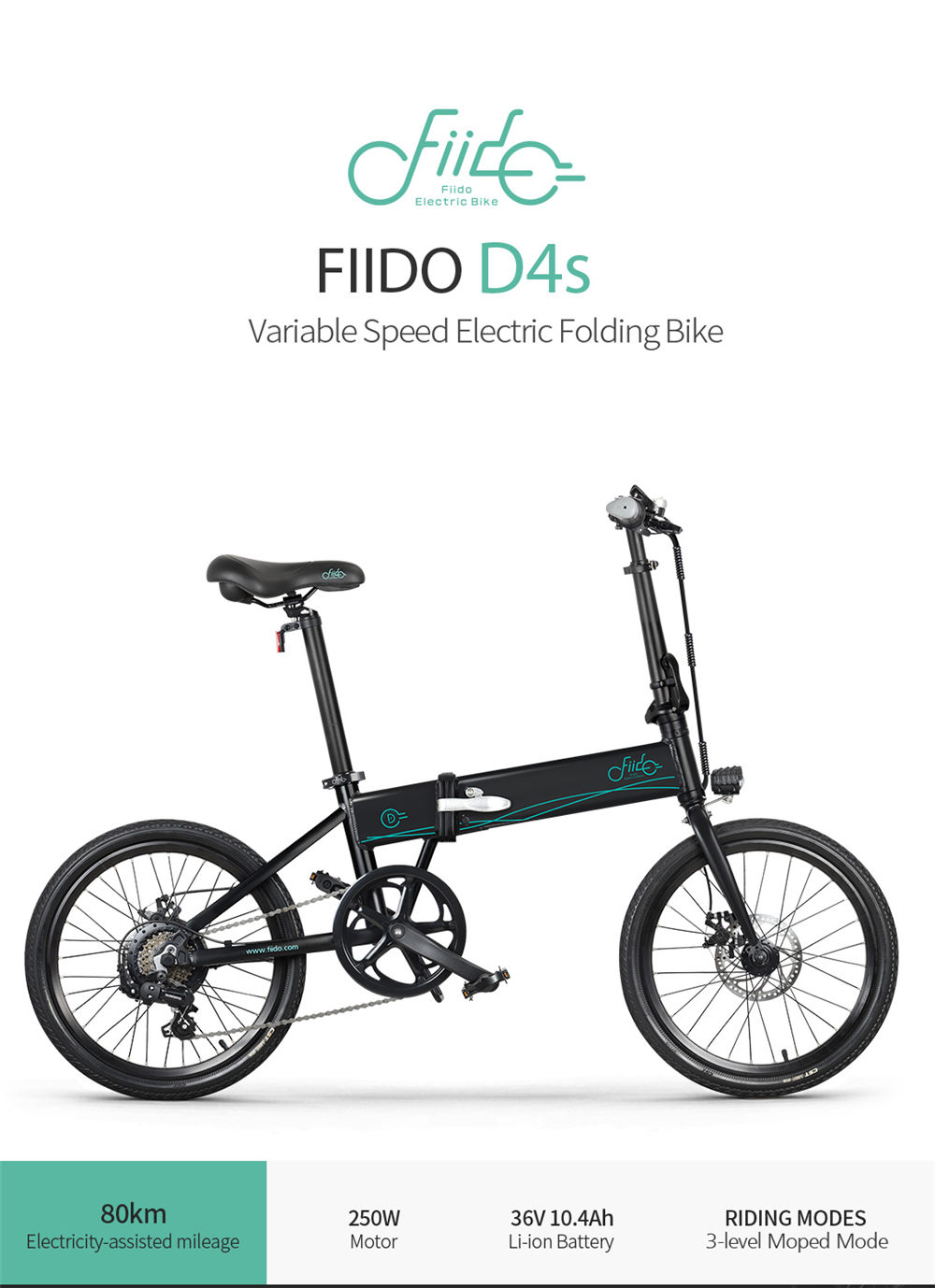 FIIDO D4S Folding Moped Electric Bike Shimano 6-speed Gear Shifting City Bike Commuter Bike 20-inch Tires 250W Motor Max 25km/h 10.4Ah Battery up to 80KM Mileage Range - Black