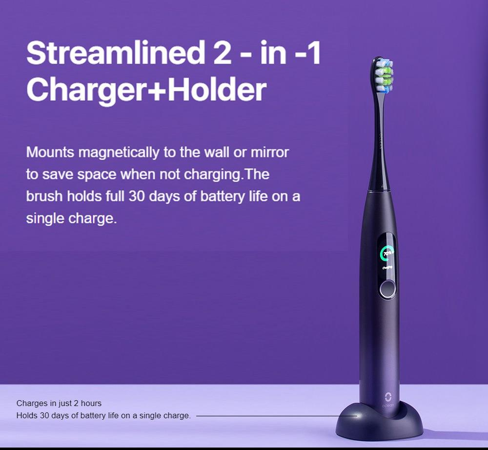 Xiaomi Oclean X Pro Global Version Smart Sonic Electric Adult Toothbrush IPX7 Waterproof Adjustable Strength Color Touch Screen USB Charging Holder 800mAh Lithium Battery APP Control - Blue