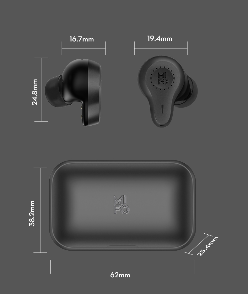 Mifo O7 Bluetooth 5.0 Qualcomm QCC3020 TWS Earphones Carbon Nanotube Dynamic Drivers Independent Usage IPX7 AAC/SBC/aptX Compatible with Alexa Siri 7 Hours Playtime - Black