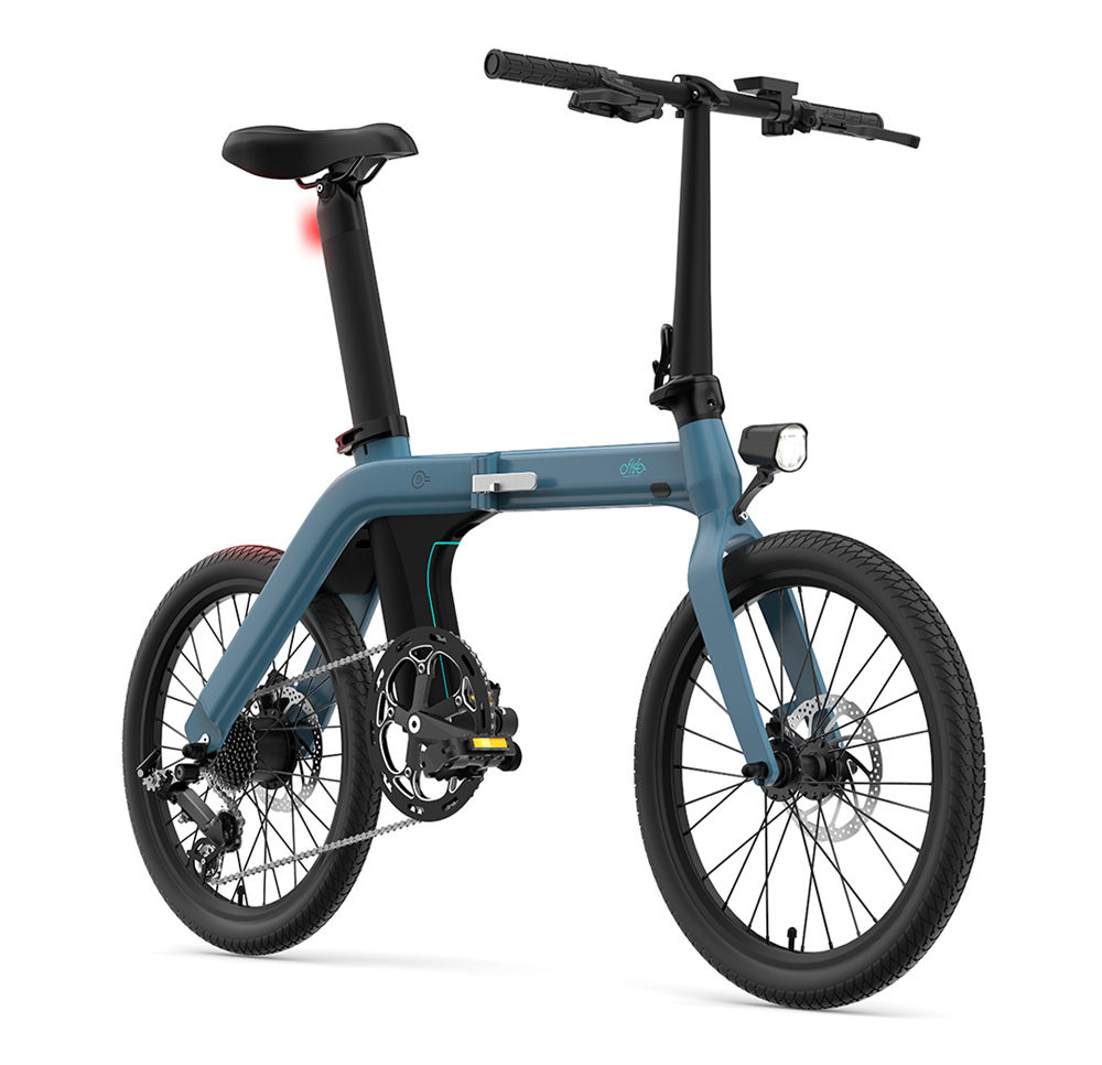 FIIDO D11 Folding Electric Moped Bicycle 20 Inch Tire 250W Brushless Motor Max Speed 25km/h Three Modes 11.6AH Lithium Battery Up To 100km Range Adjustable Height Dual Disc Brake LCD Display - Blue