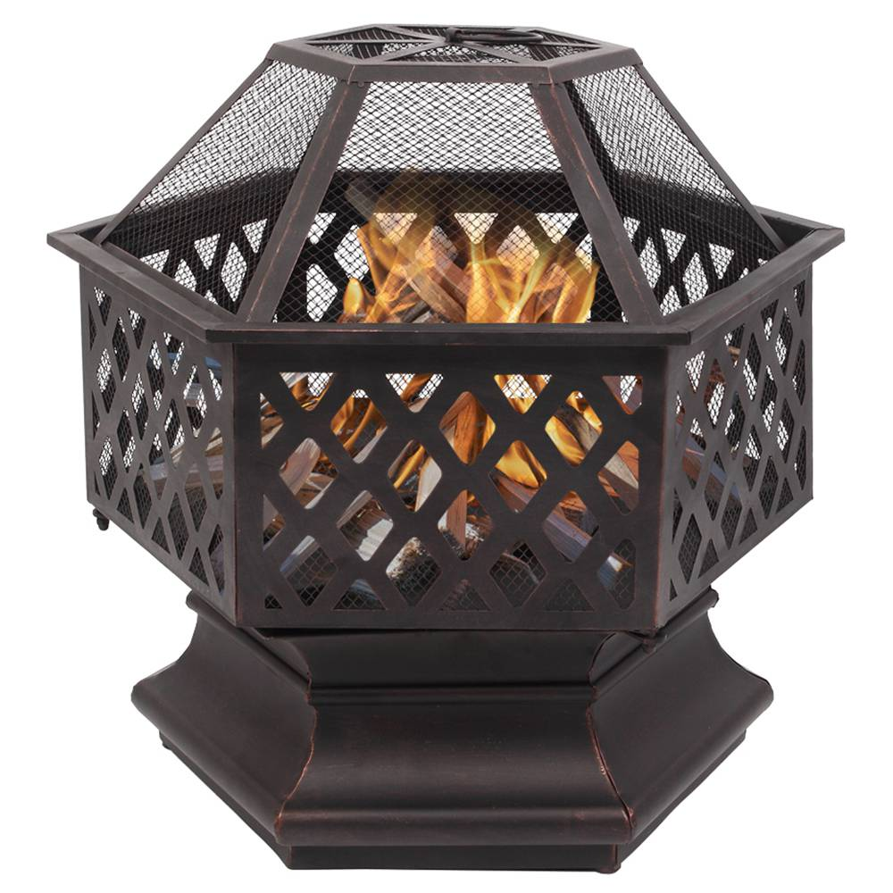 22 Inch Portable Hexagonal Iron Brazier Heat Resistant With Flame Retardant Protective Cover for Heating  Decoration - Black