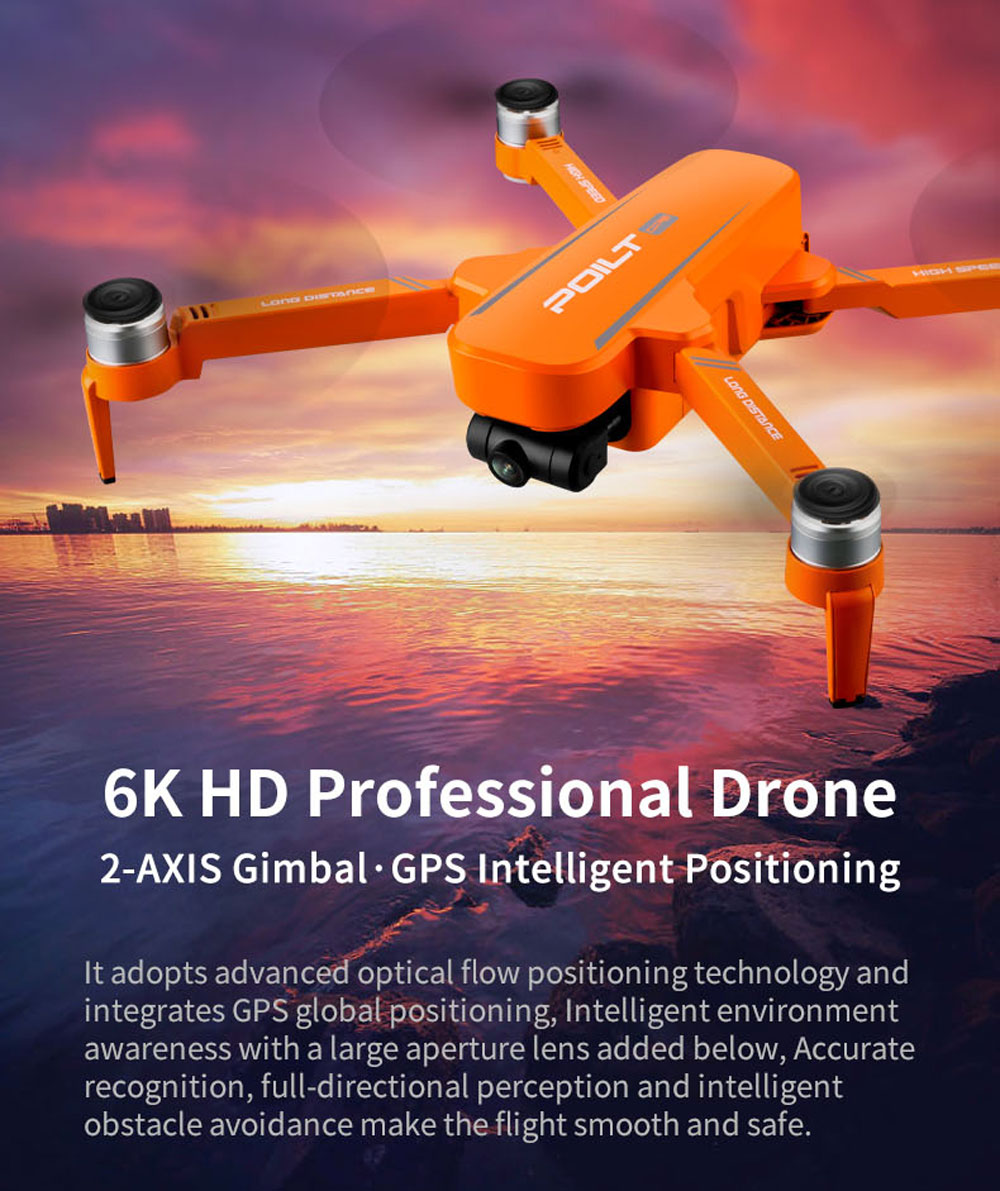 JJRC X17 6K 5G WIFI FPV GPS Brushless Foldable RC Drone with 2-axis Gimbal Dual Camera Optical Flow Positioning RTF - Orange One Battery