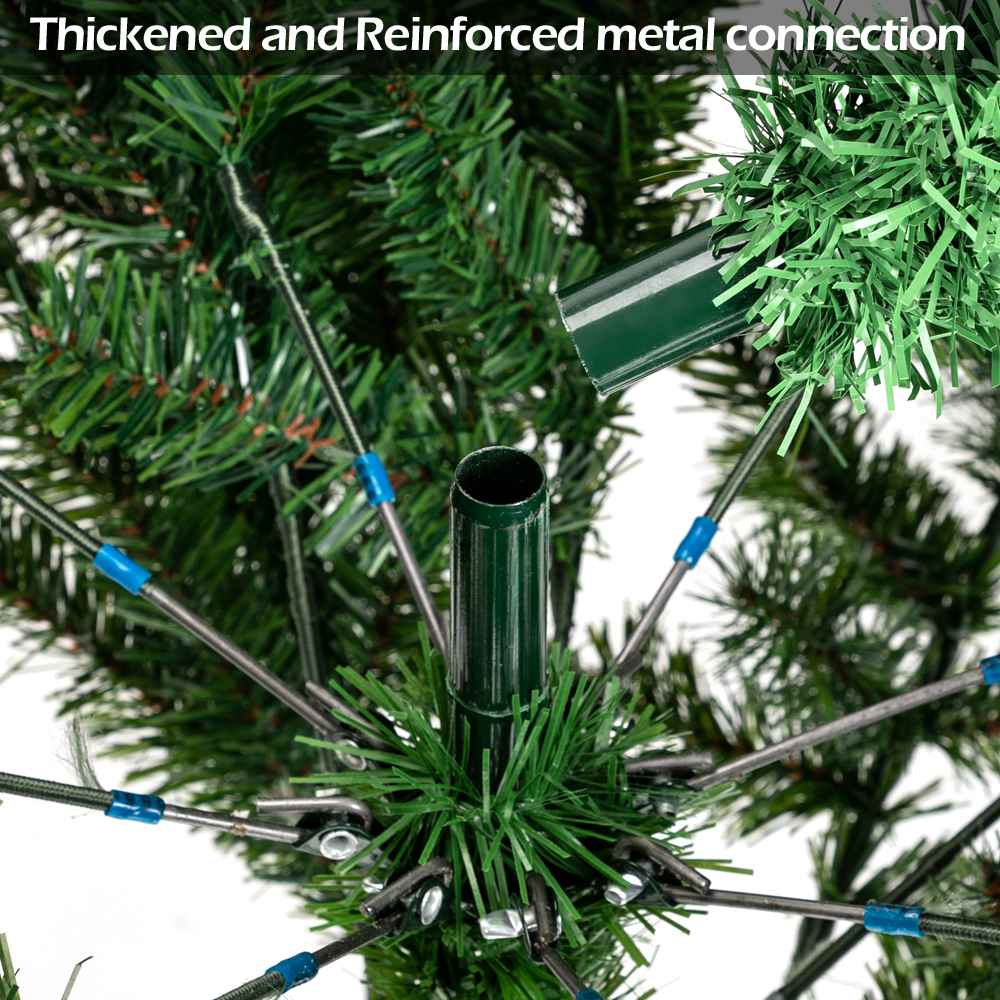 6FT Bionic Decoration Christmas Tree 920 Branches PVC Leaves Metal Frame With Pine Cones - Dark Green