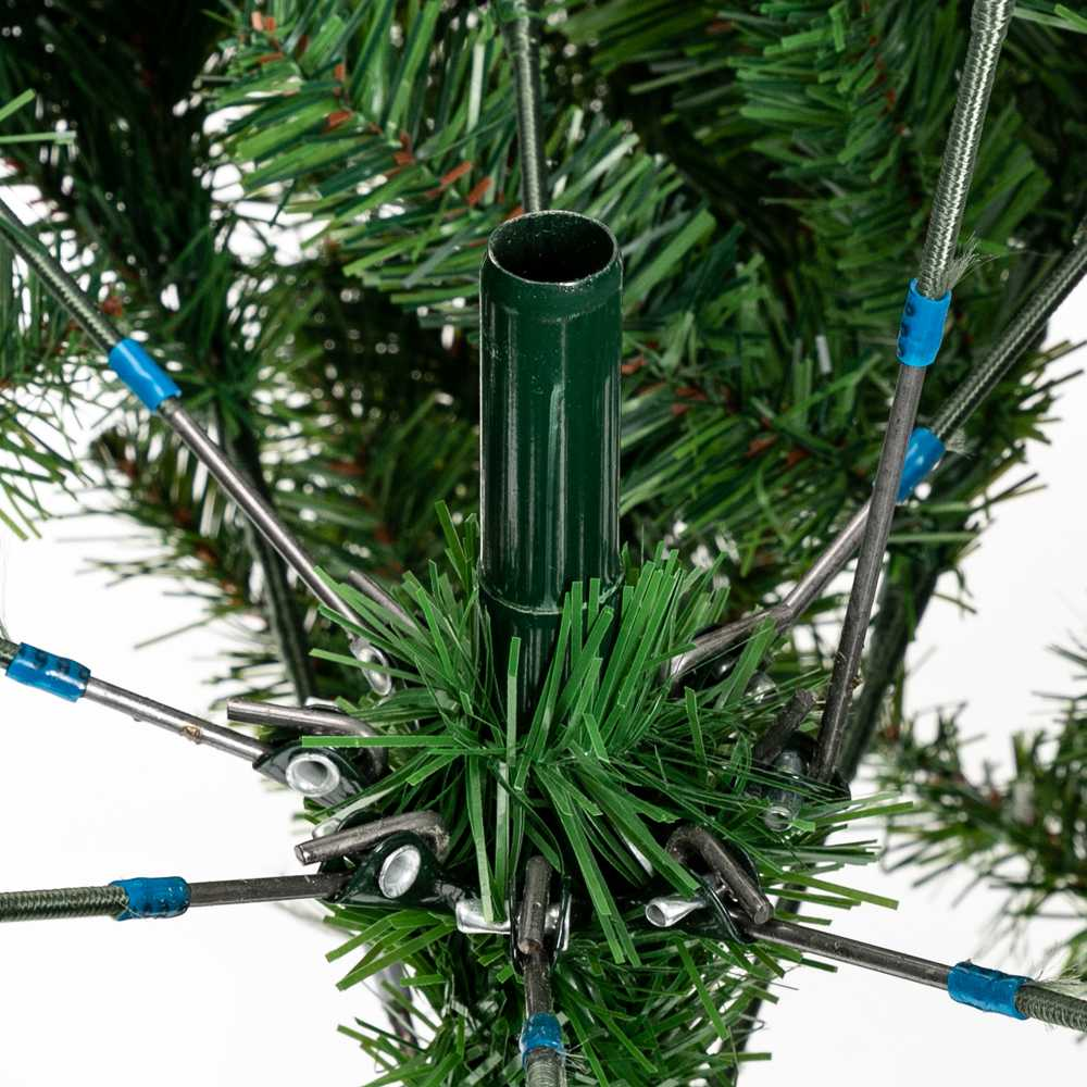 7-foot Bionic Decoration Christmas Tree 1350 Branches PVC Leaves Metal Frame With Pine Cones - Dark Green