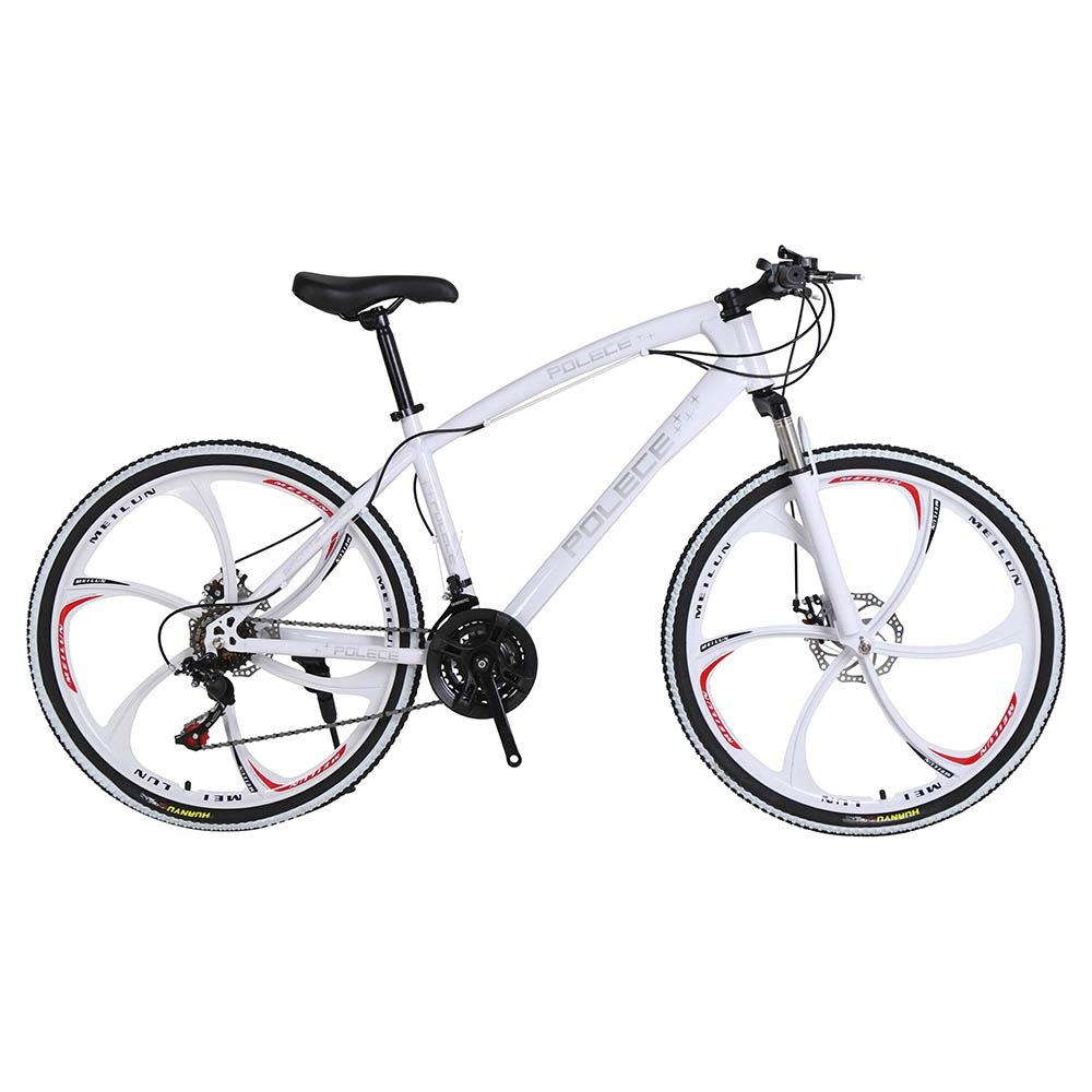 POLECE Python Shaped Mountain Bike 26 Inch Double Disc Brake Aluminum Alloy 21 Speed Gears -White