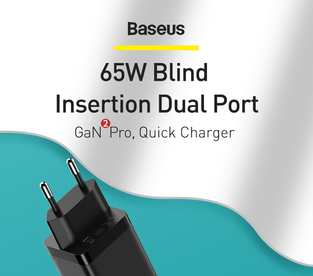 Baseus GaN2 Pro Quick Charger 2C+U 65W  With Fast Charging Cable Type-C  to Type-C 100W EU Plug -Black