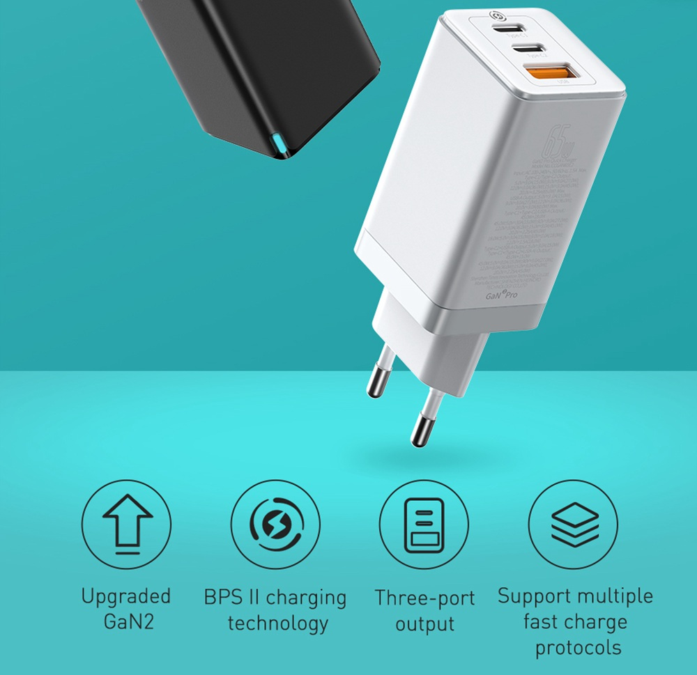 Baseus GaN2 Pro Quick Charger 2C+U 65W With Fast Charging Cable Type-C  to Type-C 100W for iPhone 12 EU Plug  -White