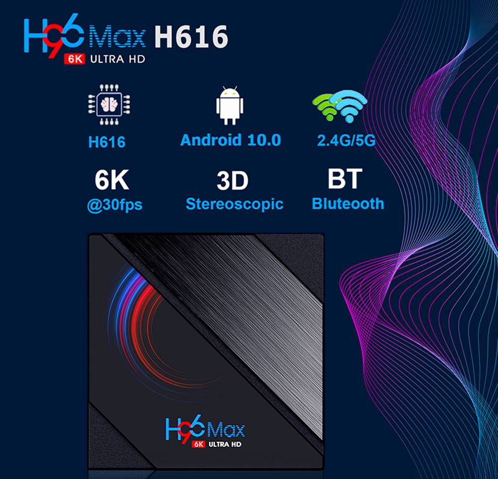H96 MAX H616 2GB/16GB Android 10 TV Box Allwinner H616  2.4G+5.8G WiFi 100Mbps LAN bluetooth