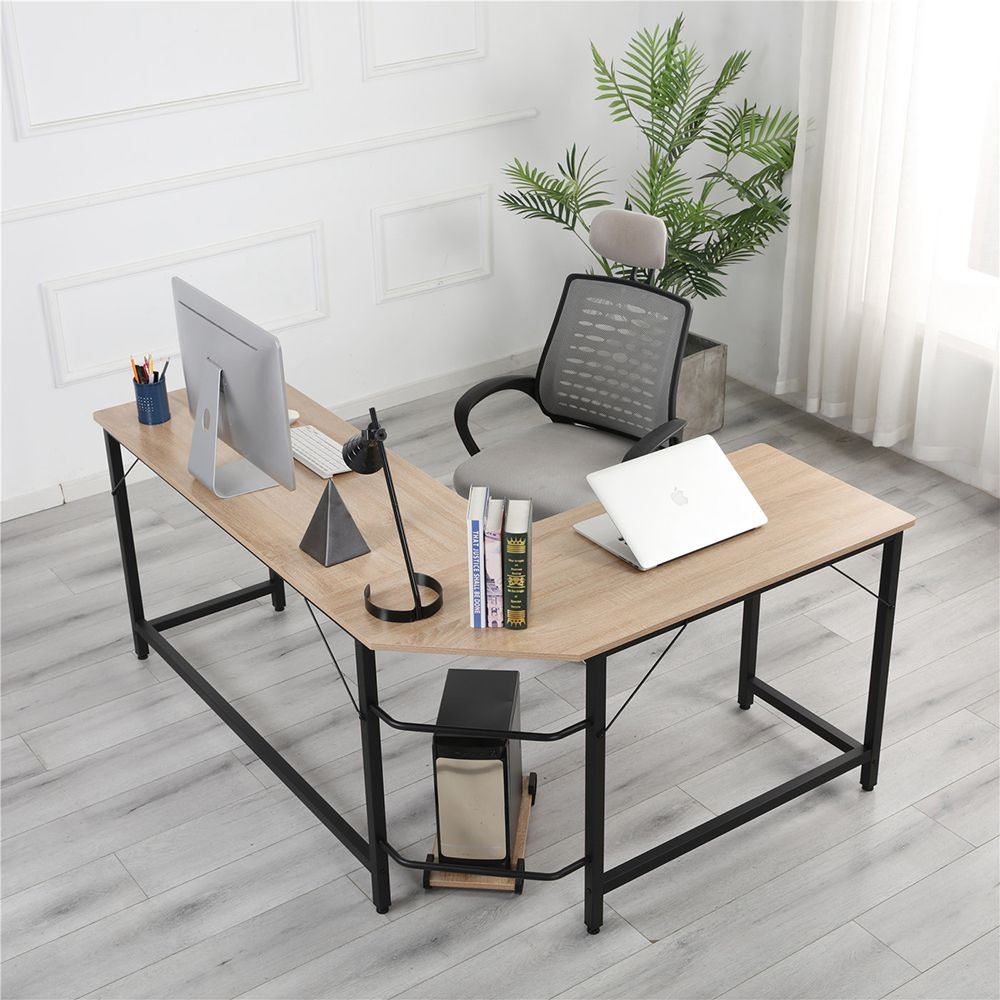Home Office L-shaped Combination Corner Table Steel Frame Oak Material With Removable Main Tray For Reading Writing Computer - Black + Log Color