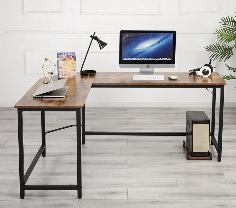 Home Office L-shaped Combination Corner Table Steel Frame Oak Material With Removable Main Tray For Reading Writing Computer - Black + Wood Grain