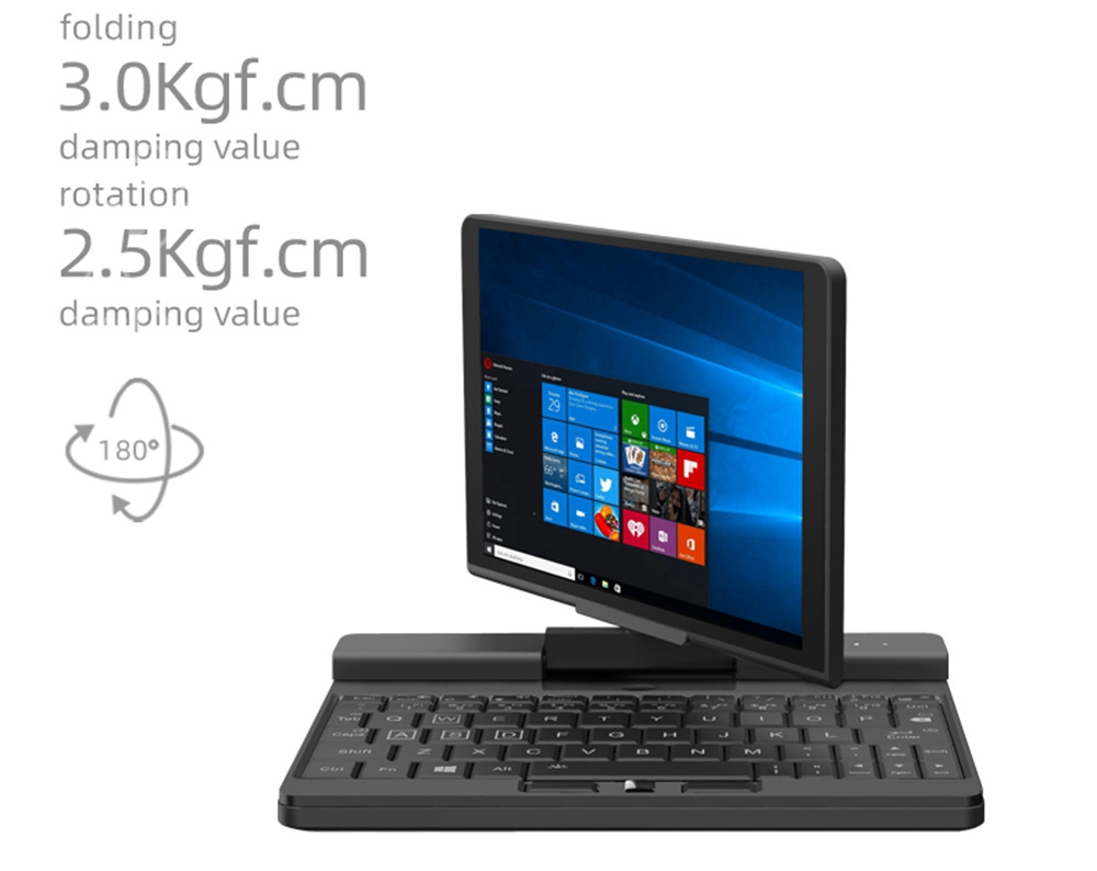 "One Netbook  A1 360 Degree 2 in 1 Pocket Laptop Intel M3-8100Y  7"" Touch Screen 2560*1200 IPS 8GB RAM 256GB PCIe SSD RS232 Port Gigabit RJ45 Windows 10 Fingerprint- Black"