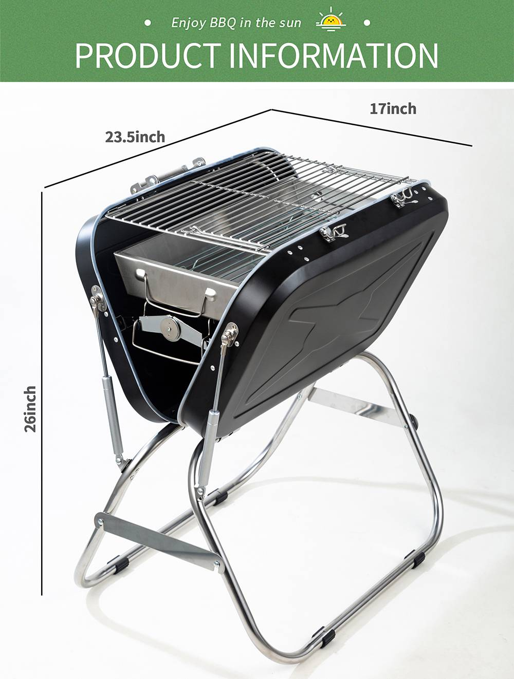 Portable Foldable Charcoal Grill Stainless Steel Material For Outdoor Camping Terrace Picnic - Black