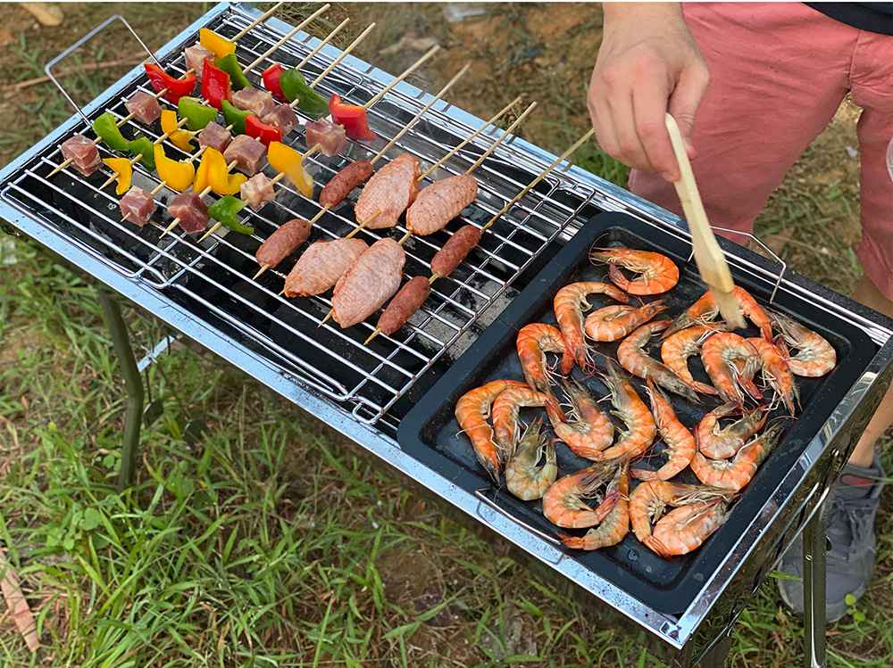 Portable Folding Barbecue Grill Stainless Steel Material Adjustable Height and Angle With Nonstick Square Baking Pan For Outdoor Camping Terrace Picnic - Silver