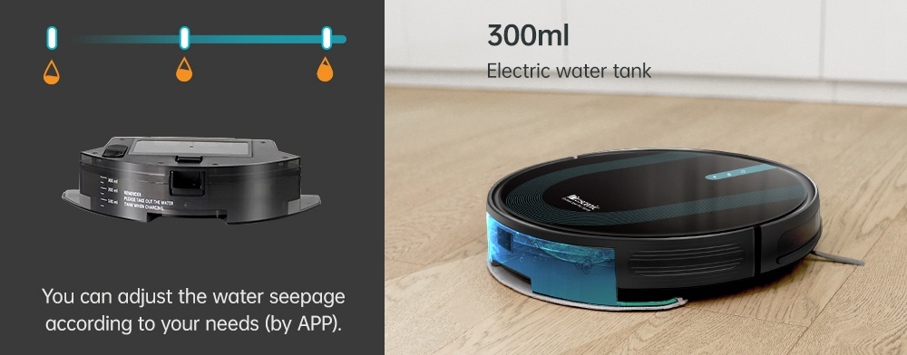Proscenic 850T Smart Robot Cleaner 3000Pa Suction Three Cleaning Modes 500ml Dust Collector 300ml Electric Water Tank Alexa Google Home App Control - Black