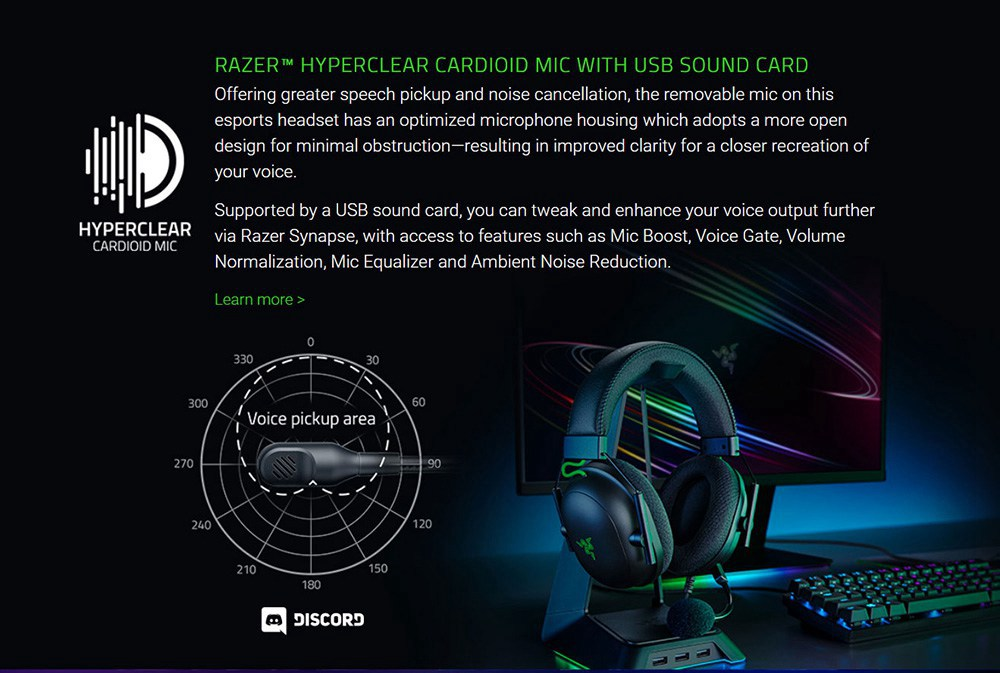 Razer BlackShark V2 Gaming Headset THX 7.1 Surround Sound 50mm Drivers Detachable Mic 3.5mm Audio Jack
