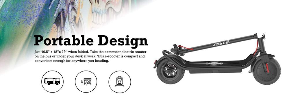 Urban Drift S006 10 Inch Electric Scooter 10Ah Aluminium Alloy Body 350W Motor Rear Disk Brake 25km/h - Black