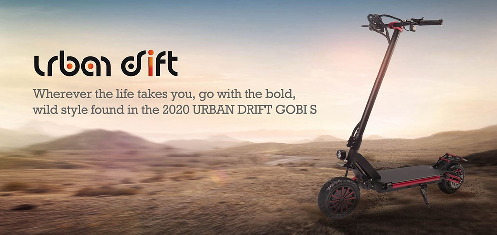 Urban Drift Gobi S Off Road Electric Scooter 800W*2 Dual Motor 52V 20AH Battery Max 60KM/H Dual Suspension 10 Inch Fat Tire with Hydraulic Disc Brake - Black