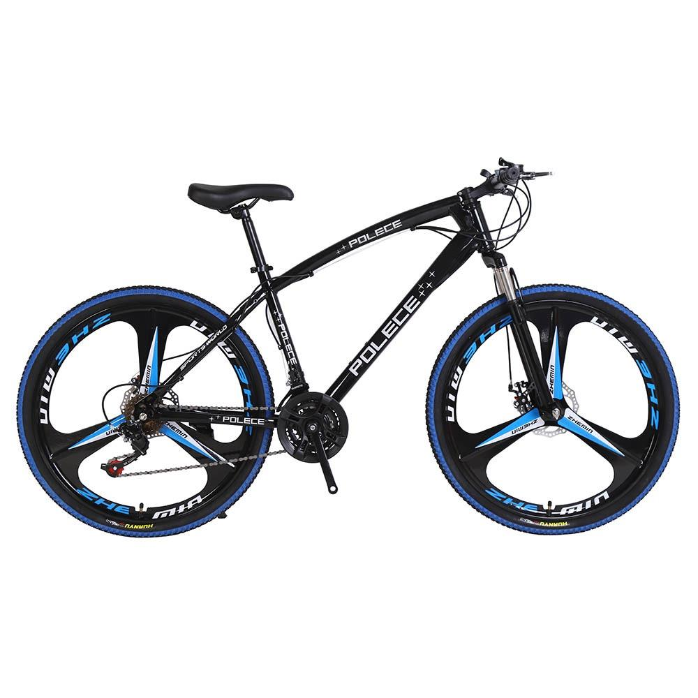 POLECE Python Shaped Mountain Bike 26 Inch Double Disc Brake Aluminum Alloy 21 Speed Gears - Black