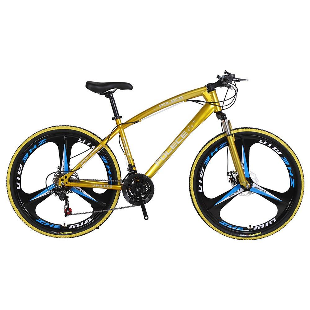 POLECE Python Shaped Mountain Bike 26 Inch Double Disc Brake Aluminum Alloy 21 Speed Gears -Yellow