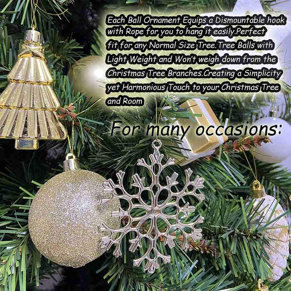 88 Pieces Shatterproof New Year Christmas Family Wedding Party Decoration Balls - Gold