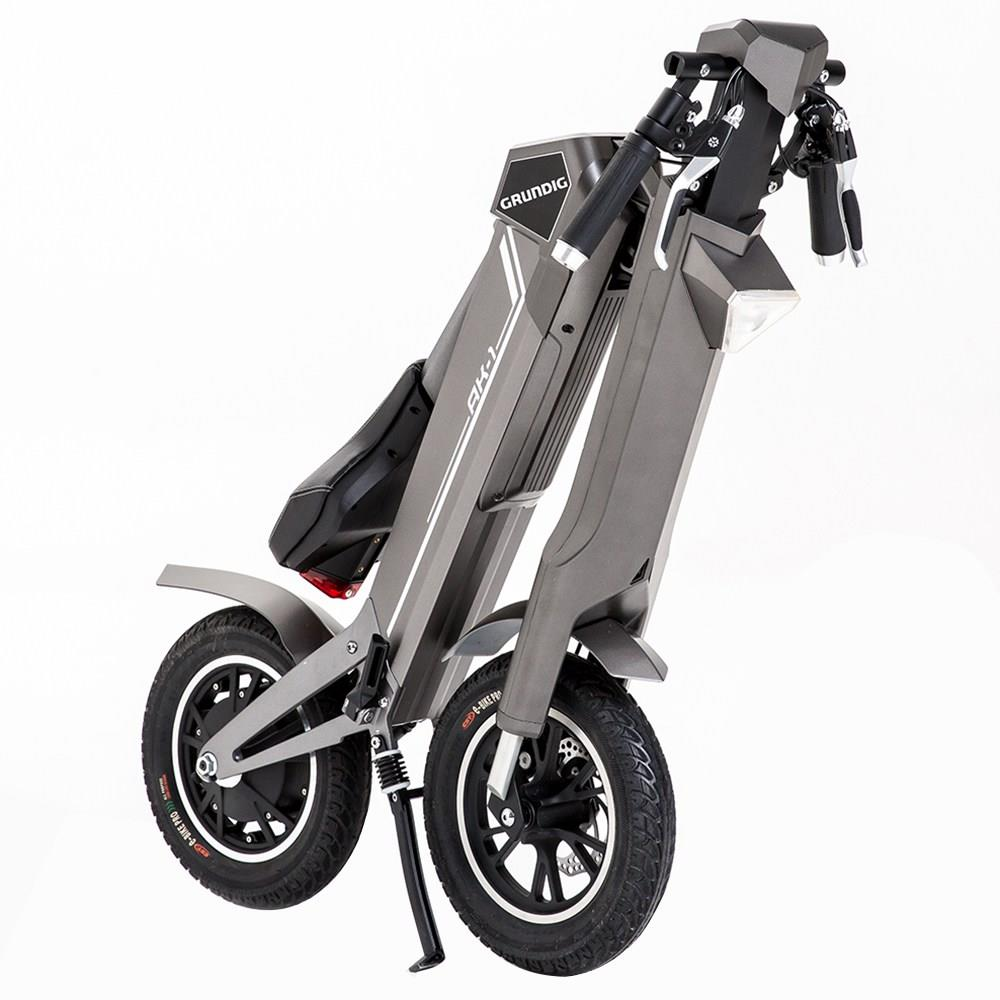 GRUNDIG AK-1 Folding Electric Scooter 12 Inch E-Bike Foldable Aluminum Alloy Shell 350W Motor Built-in Bluetooth Speaker LCD Grey