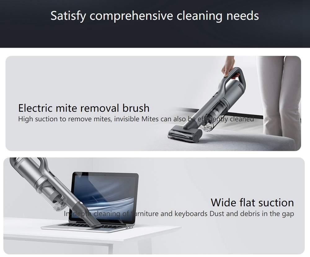 ROIDMI NEX 2 Plus Smart Cordless Handheld Vacuum Cleaner 2 in 1 Vacuuming Wiping 150W 26500Pa Strong Suction 80 Mins Running Time 550ml Dust Box 240ml Water Tank  V-shaped Anti-winding APP Control - Gray
