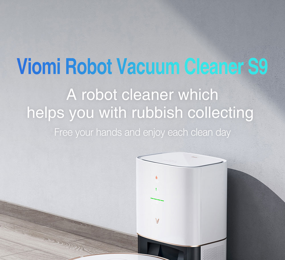 Xiaomi VIOMI S9 Robot Vacuum Cleaner + Automatic Suction Station 2700Pa Suction 250ml Electric Water Tank 5200mAh Battery Running Time 220min Support Mijia APP Control EU Plug - White