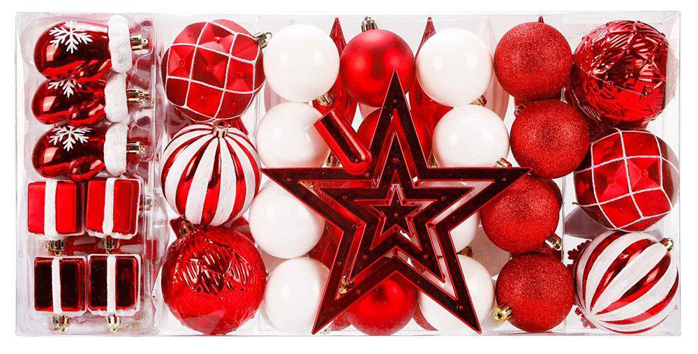 88 Pieces Shatterproof New Year Christmas Family Wedding Party Decoration Balls - Red
