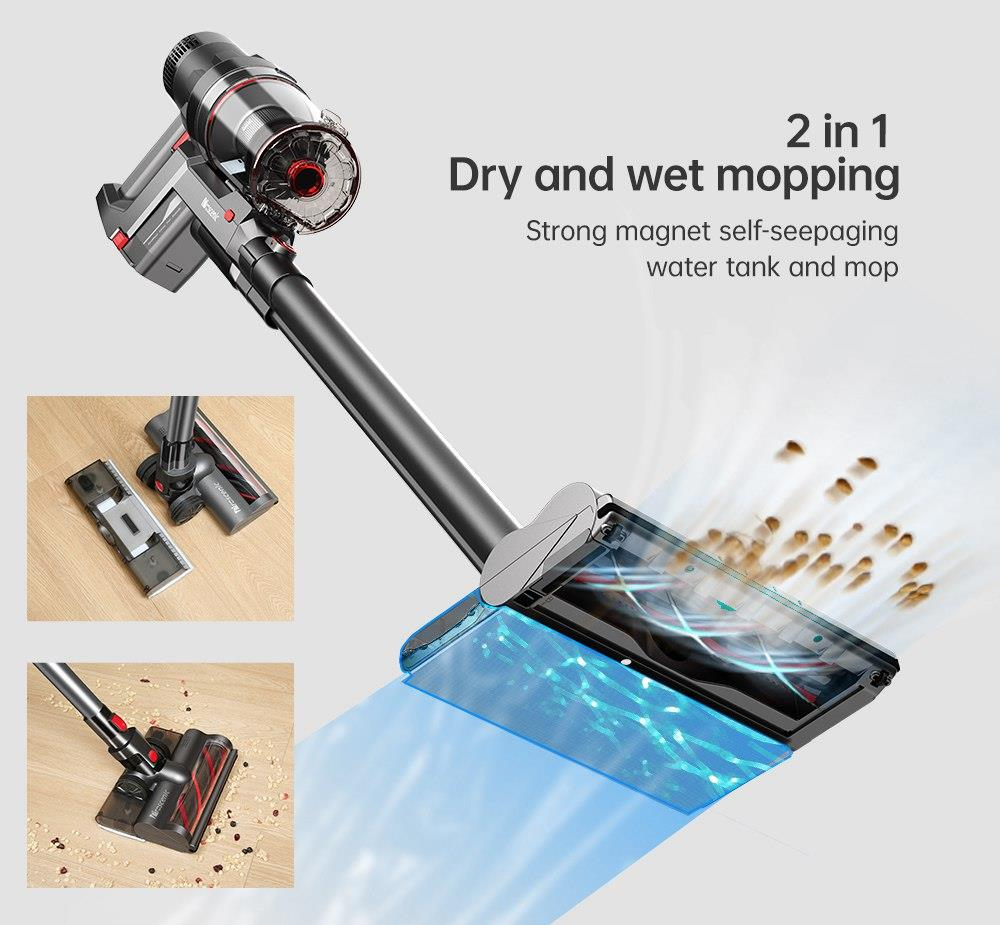Proscenic P11 Handheld Cordless Vacuum Cleaner 2 in 1 Vacuuming Mopping 25KPa Suction Removable Water Tank 50min Running Time Touch Screen Rechargeable Wall Bracket - Gray