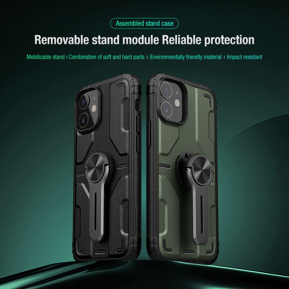 Assembled Stand Case Removable Stand Module Reliable Protection for Apple iPhone 12 Mini - Black