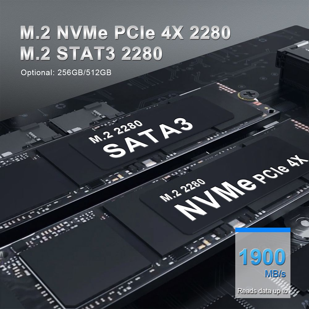 Beelink GTI Intel Core i5-8260U 8 Go de RAM 512 Go SSD sous licence Windows 10 Mini PC WIFI 6 Bluetooth RJ45 * 2 HDMI DP