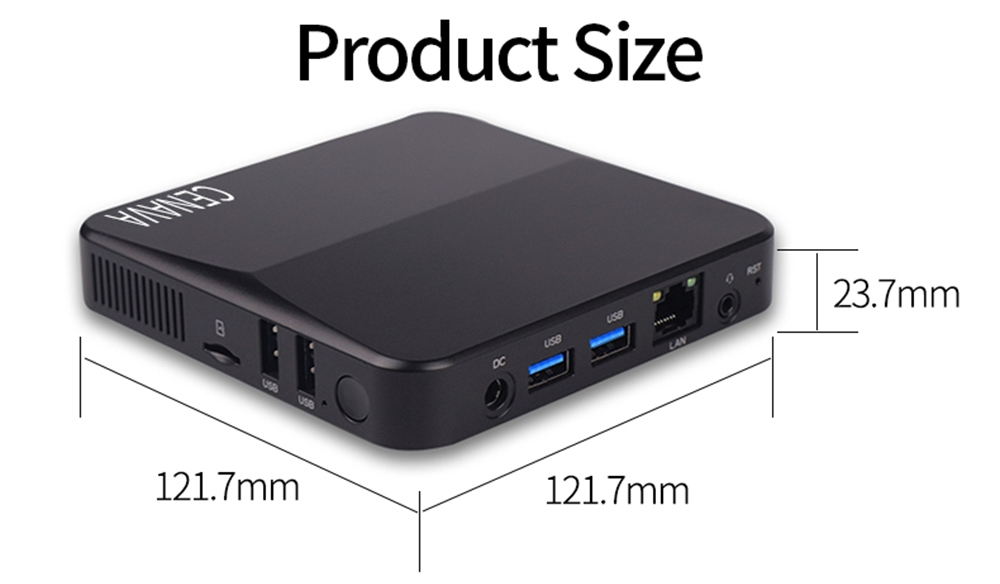CENAVA P3T Windows 10 8GB/64GB Intel J4115 4K Mini PC Intel HD Graphics 600 2.4G/5G WiFi Gigabit LAN HDMI