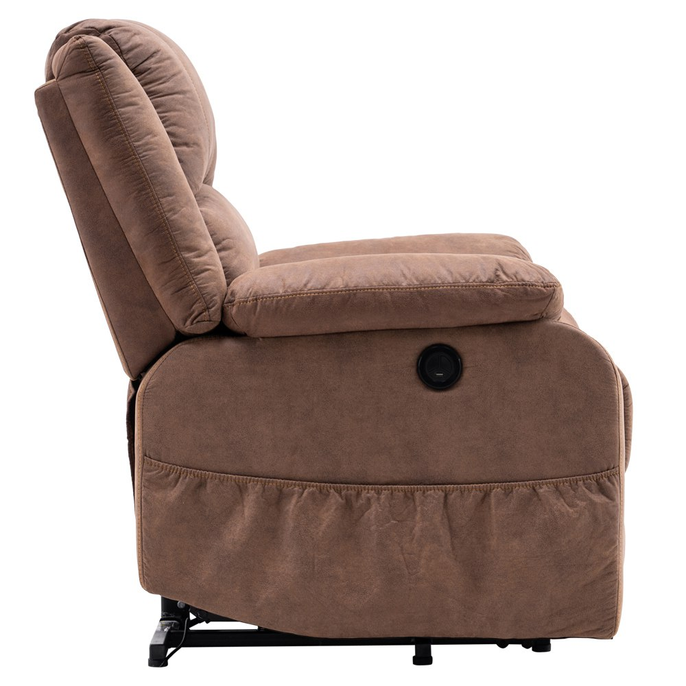 Electric Lift Cloth Massage Chair Adjustable Angle With Armrests Comfortable Soft and Easy to Clean For Reading Resting Watching TV - Brown