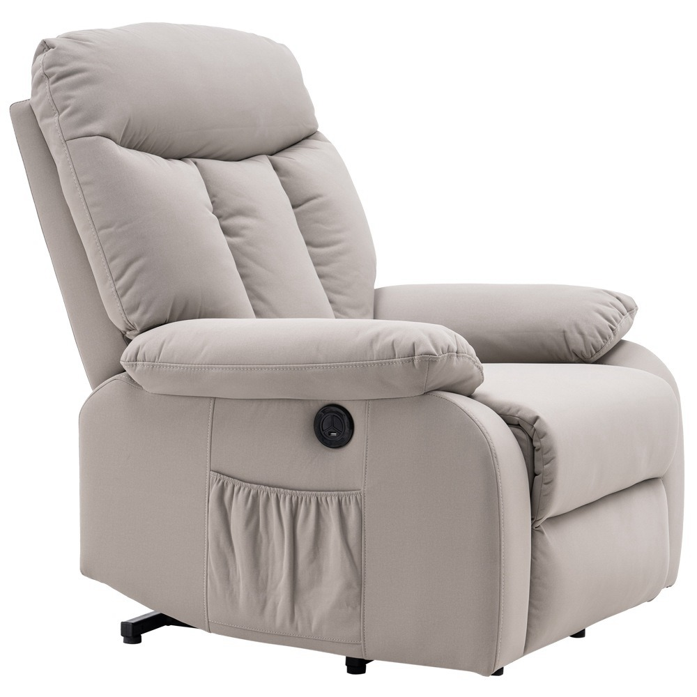 Electric Lift Cloth Massage Chair Adjustable Angle With Armrests Comfortable Soft and Easy to Clean For Reading Resting Watching TV - Silver