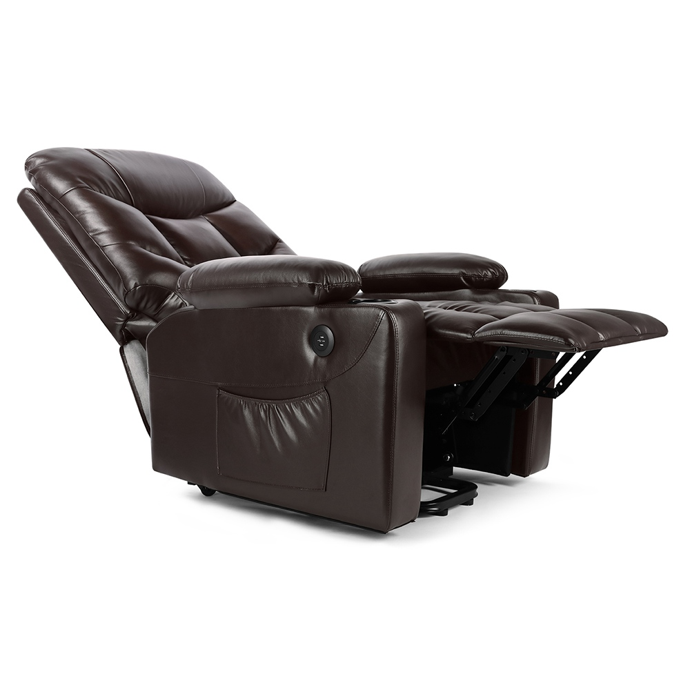 Electric Lift Leather Multifunction Massage Recliner Waist Heating Water and Pollution Resistant For Reading Resting Watching TV - Brown