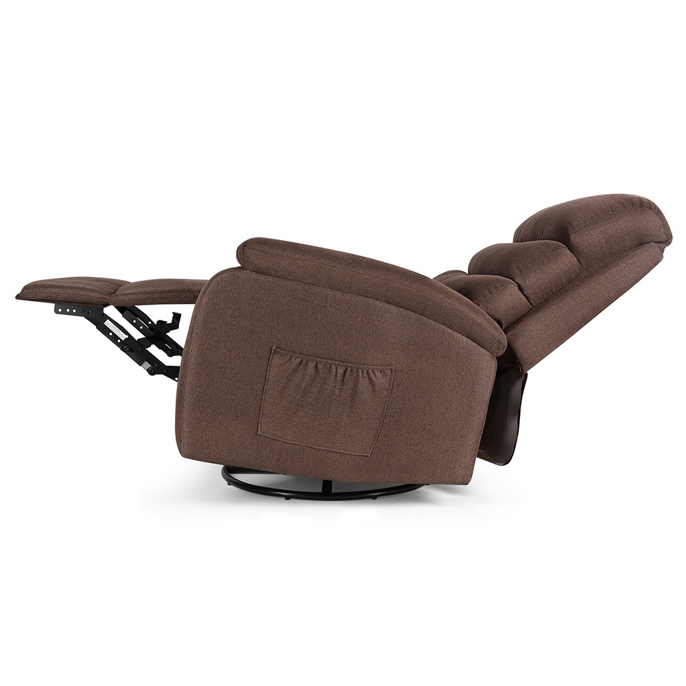 Electric Lift Linen Multifunction Massage Recliner 5 Modes Waist Heating Comfortable Soft and Easy to Clean For Reading Resting Watching TV - Dark Brown