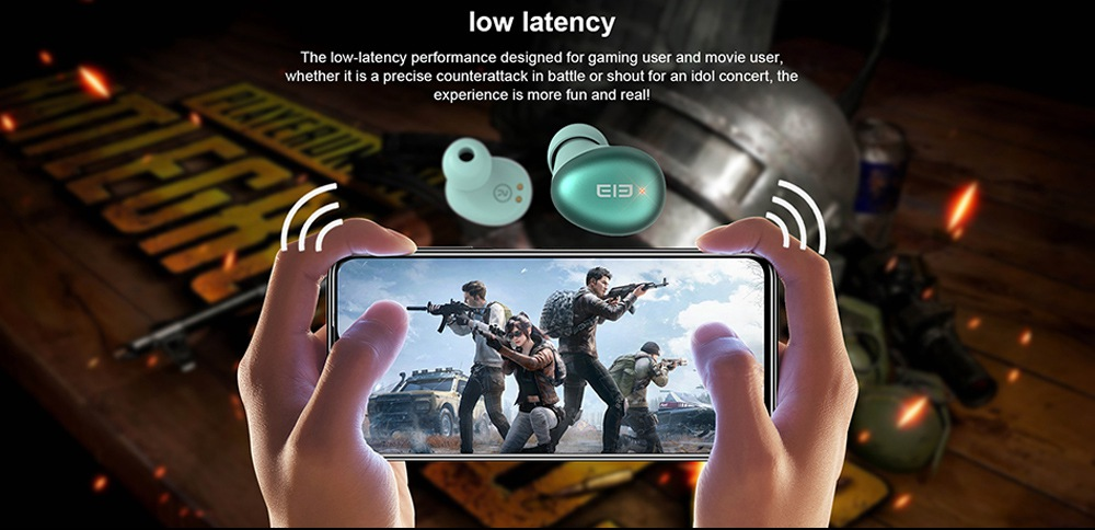 Elephone Elepods S TWS Bluetooth 5.0 Earphones Noise Cancelling Mic Low Latency Gaming Earbus - Green