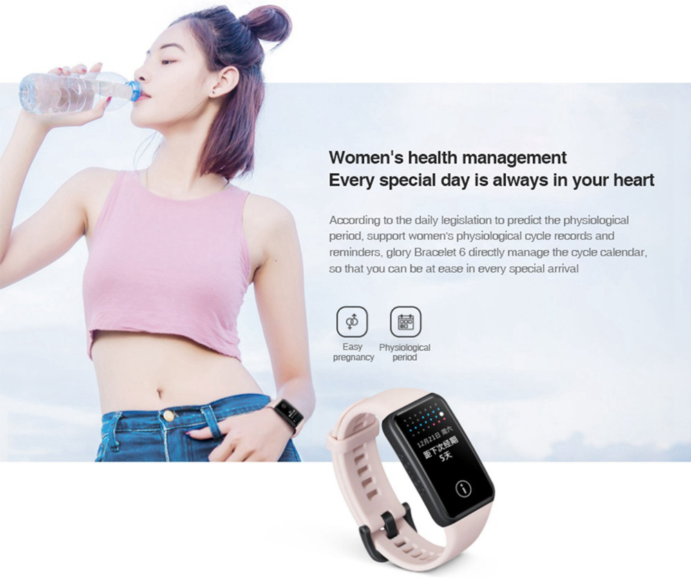 "HUAWEI  Honor Band 6 Smart Wristband 1.47"" AMOLED Touch Screen Blood Oxygen Heart Rate Sleep Monitor 10 Sports Modes Bluetooth 5.0 5ATM Waterproof  2 Weeks Battery Life - Pink"